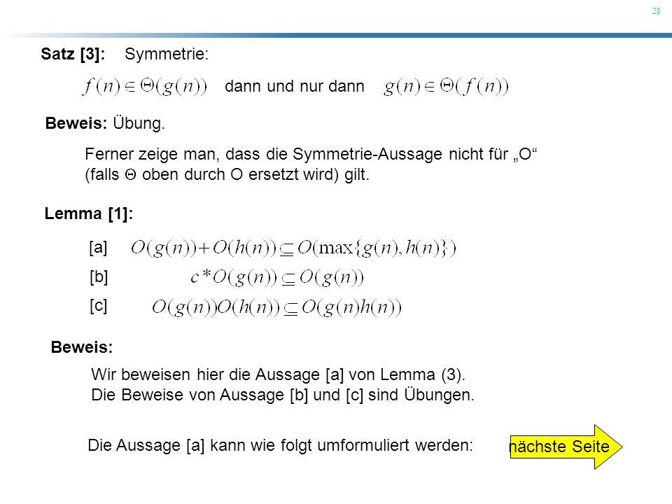 """Satz [3]: Symmetrie: dann und nur dann. Beweis: Übung. Ferner zeige man, dass die Symmetrie-Aussage nicht für """"O"""